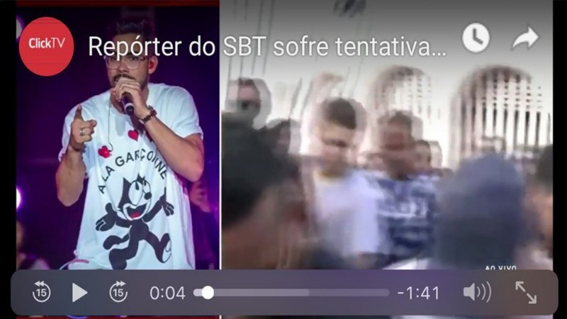 reporter do sbt que fazia cobertura ao vivo do velorio de gd sofre tentativa de assalto veja o video